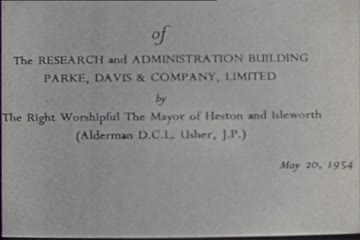 play video for Opening Ceremony of the Research and Administration Building, Parke, Davis and Company Ltd, Hounslow Heath